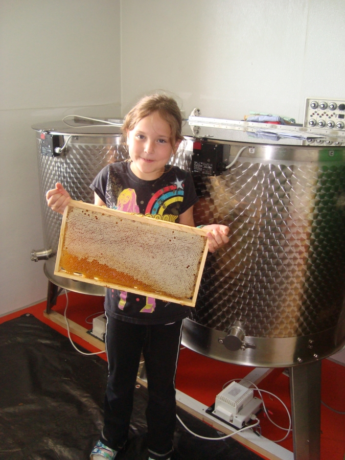 Tochter Melissa bei der Honigschleuderung